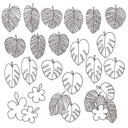 Beautiful tropical plant background illustration material, Ilustración de vector