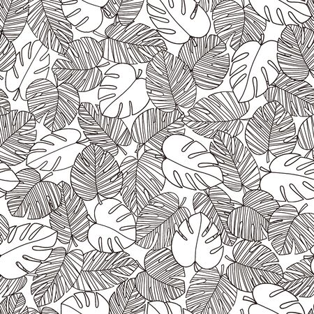 Seamless pattern of the beautiful tropical plant and flower,