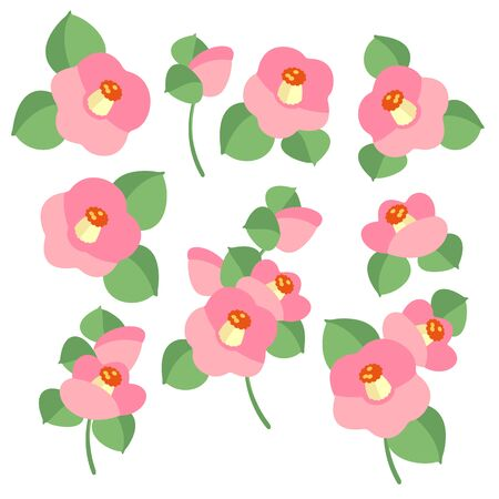 Japanese style illustration of the camellia which I simplified beautifully, Foto de archivo - 130284374