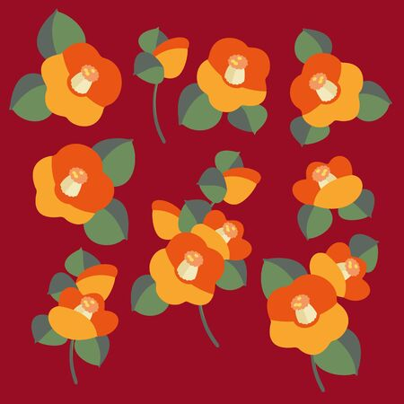 Japanese style illustration of the camellia which I simplified beautifully, Illustration