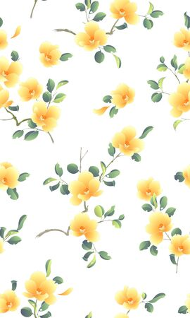 Pattern of the camellia which is beautiful with Japanese style,
