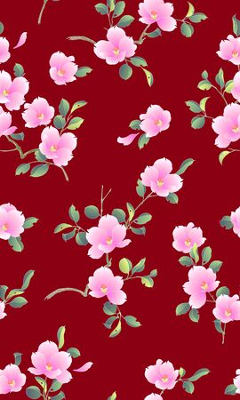 Pattern of the camellia which is beautiful with Japanese style, Foto de archivo - 131001300
