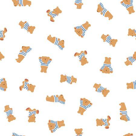 Cute little bear seamless pattern,
