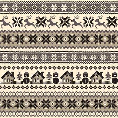 Seamless pattern of splendid North Nordic style