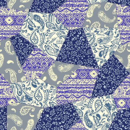 Beautiful chintz design patchwork pattern material, Illustration