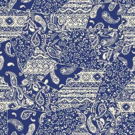 Bellissimo materiale con motivo patchwork di design chintz,