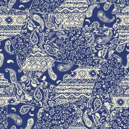 Beautiful chintz design patchwork pattern material, Illustration