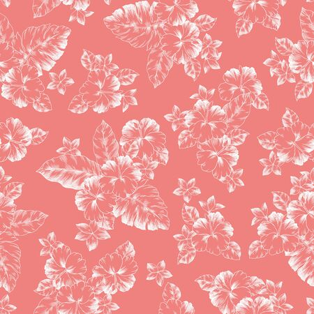 Seamless pattern of beautiful Hibiscus, I drew Hibiscus for designing it,