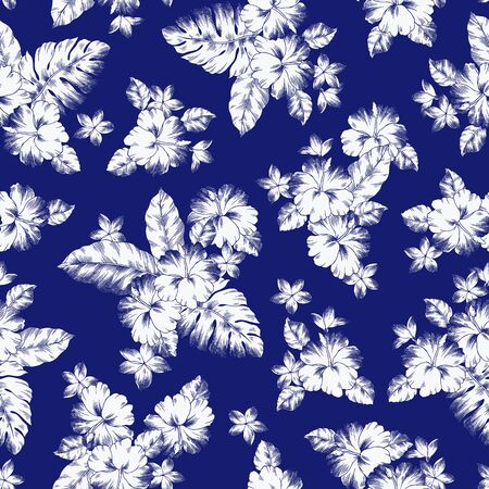 Seamless pattern of beautiful Hibiscus, I drew Hibiscus for designing it,