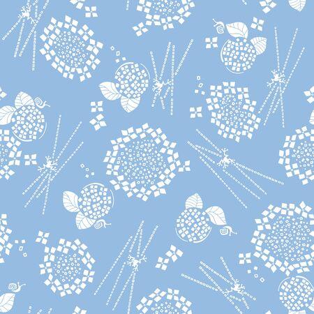 Abstract Japanese style hydrangea pattern,