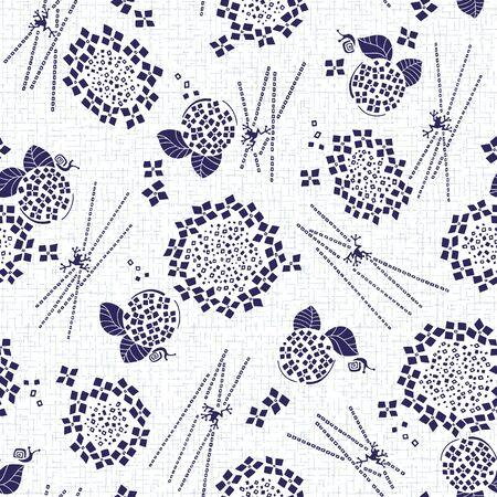 Abstracte Japanse stijl hortensia patroon,