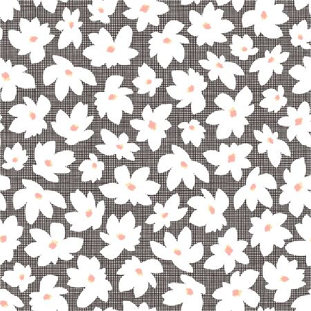 Seamless pattern material of an abstract flower, 向量圖像