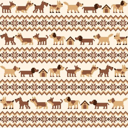 Seamless pattern of the Nordic events-style using the dog, 向量圖像