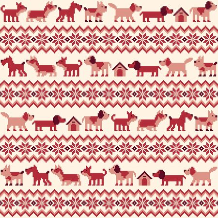 Seamless pattern of the Nordic events-style using the dog,