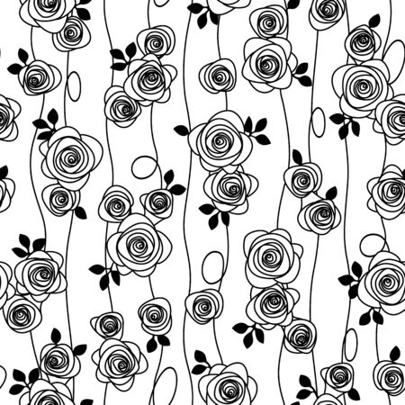 Seamless pattern material of an abstract rose Çizim
