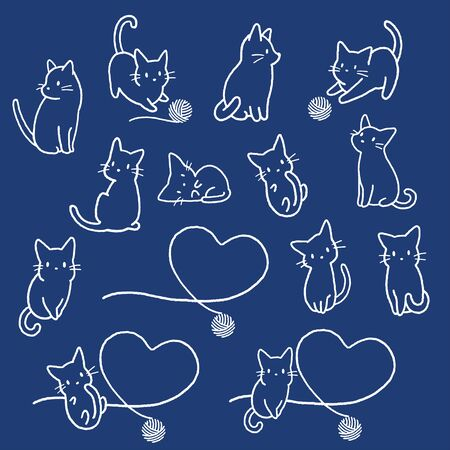 Simple and cute cat illustration material, 일러스트