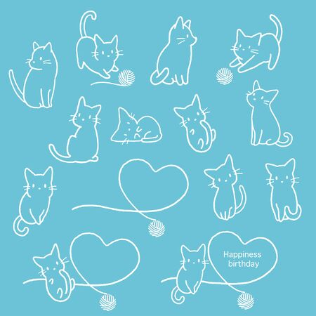 Simple and cute cat illustration material, 向量圖像
