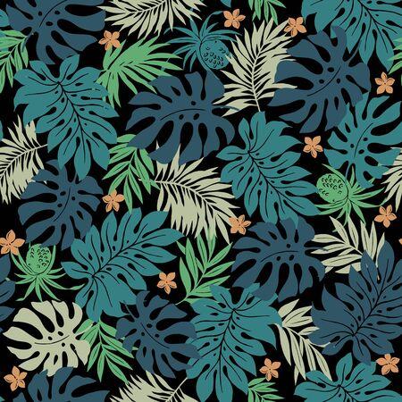 Beautiful Tropical Plant Seamless Pattern Illustration, Vetores