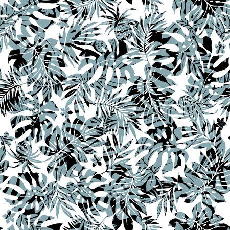 Beautiful Tropical Plant Seamless Pattern Illustration,