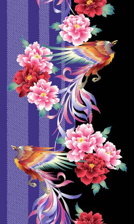 Pattern of the beautiful Japanese style flower and phoenix,