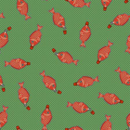 Japanese style lunch box fish type seasoning bottle, Seamless pattern,