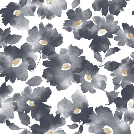 Blurred flower seamless vector pattern