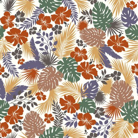 Tropical Plant Seams Pattern Illustration I Designed a Dramatic Plant, This Picture Is Seamless, It Is a Vector Work Vecteurs