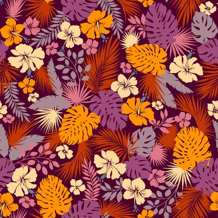 Tropical Plant Seams Pattern Illustration I Designed a Dramatic Plant, This Picture Is Seamless, It Is a Vector Work