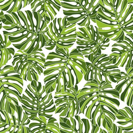 Tropical Plant Seams Pattern Illustration I Designed a Dramatic Plant, This Picture Is Seamless, It Is a Vector Work Vettoriali