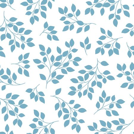 Seamless pattern of a leaf designed simply, I drew a leaf in a silhoete,  イラスト・ベクター素材