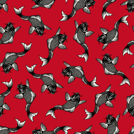 Seamless pattern of the Japanese style carp