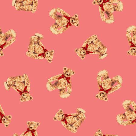 Seamless vector pattern of a pretty bear,