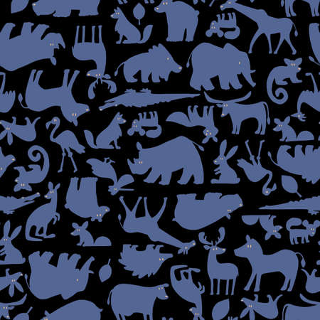 Animal pattern of a seamless, simple silhouette,
