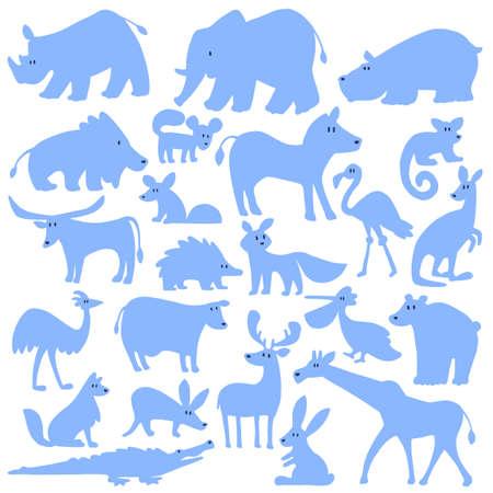 Animal illustration material of a simple silhouette, Illusztráció