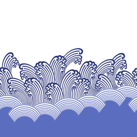 Ornament design of the wave Japanese style in seamlessness,