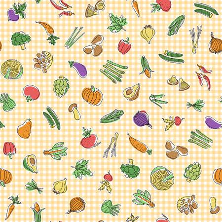 Seamless pattern of interesting vegetables, I expressed vegetables interestingly, Vecteurs