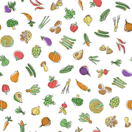 Seamless pattern of interesting vegetables, I expressed vegetables interestingly,