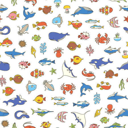 Seamless pattern of a pretty fish, I designed various fish cutely,