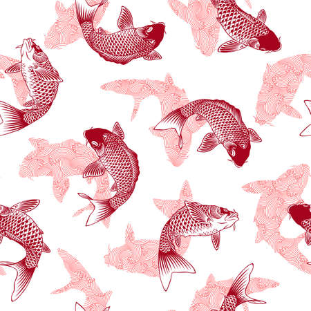Seamless pattern of the Japanese-style carp and wave,