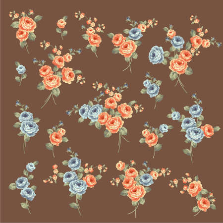 Beautiful rose illustration material collection,