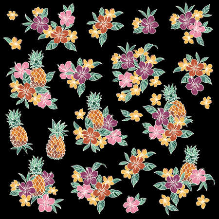 Illustration material collection of hibiscus and pineapple,