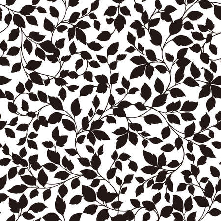 Seamless and beautiful leaf illustration pattern, Stock Illustratie