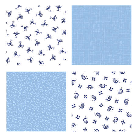 Seamless pattern of Japanese frog and cochlea,