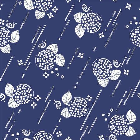 Japanese and simple hydrangea seamless pattern,