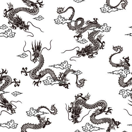 Japanese style and simple dragon seamless pattern,
