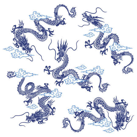 A collection of materials depicting dragons in Japanese style,