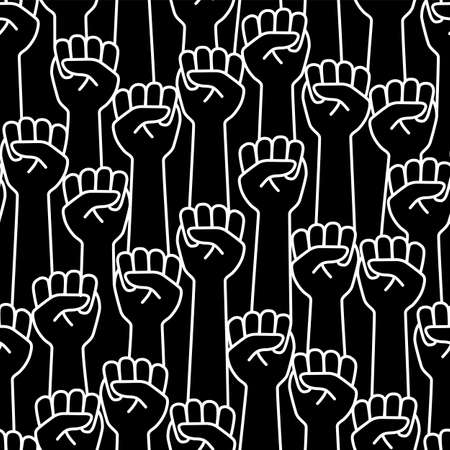 Seamless illustration pattern of a simple fist, Stock Illustratie