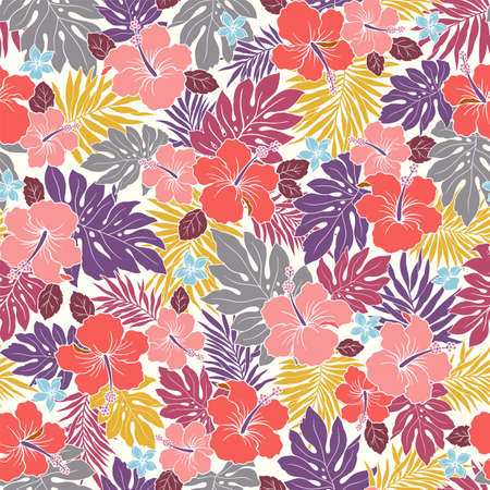 Beautiful tropical flower and plant seamless pattern,