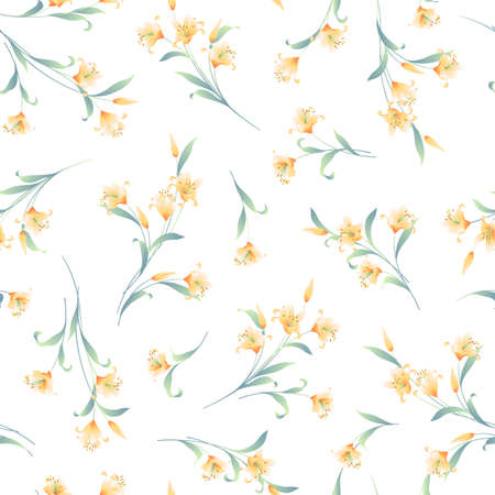 Japanese lily illustration material collection,