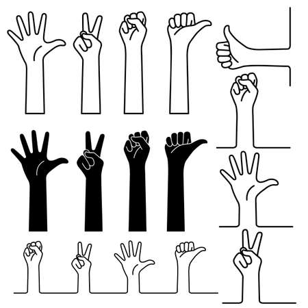 Illustration collection of simple hand shapes,